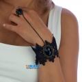 кружевное черное колье с кольцом