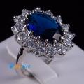 Позолоченное кольцо с синим камнем